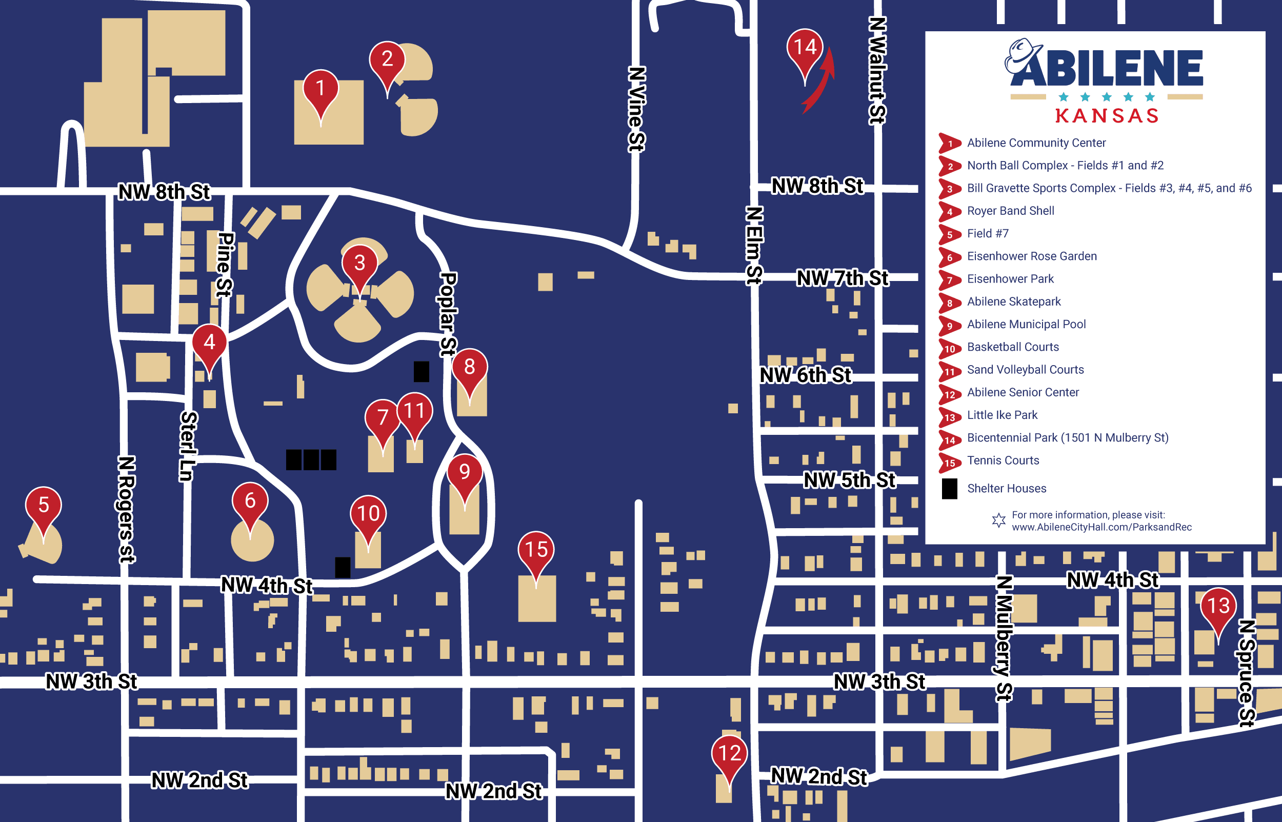 Map of the parks in Abilene