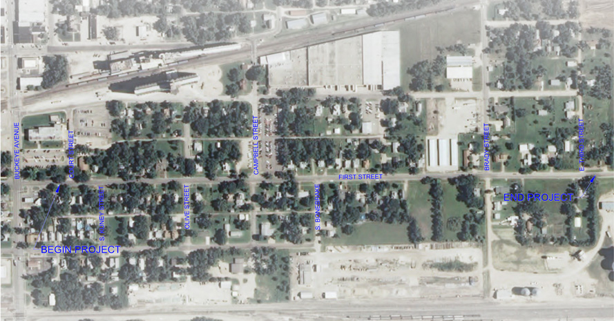 Map of First Street Project Scope